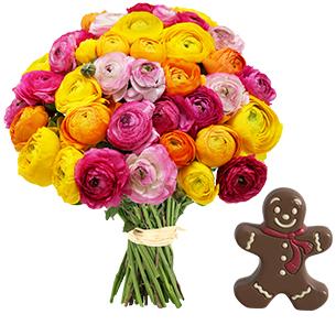 Fleurs et cadeaux Brassée de renoncules x30 et son bonhomme en chocolat