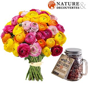 Fleurs et cadeaux Brassée de renoncules et son kit pour pâte à tartiner Nature & découvertes