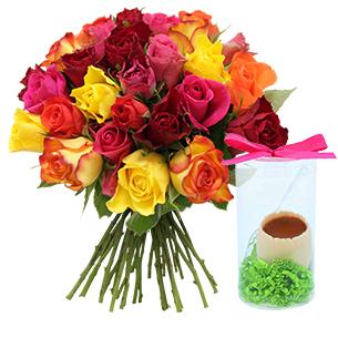 Fleurs et cadeaux Brassée de roses et son œuf FAUCHON
