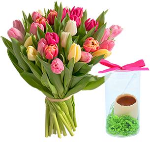 Fleurs et cadeaux Brassée de tulipes x30 et son œuf FAUCHON