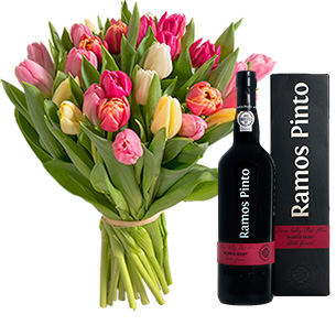 Fleurs et cadeaux Bouquet de tulipes et son porto