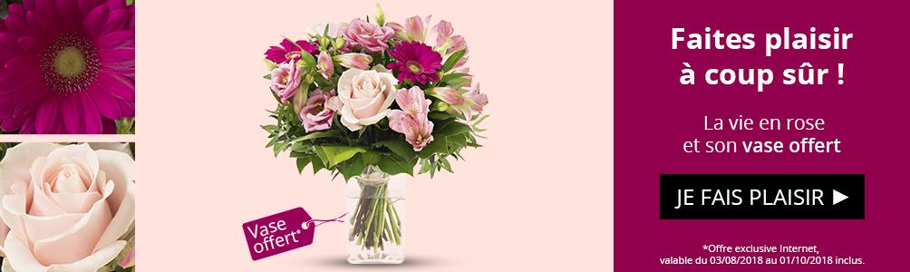 Profitez d'un vase offert sur notre bouquet La vie en rose