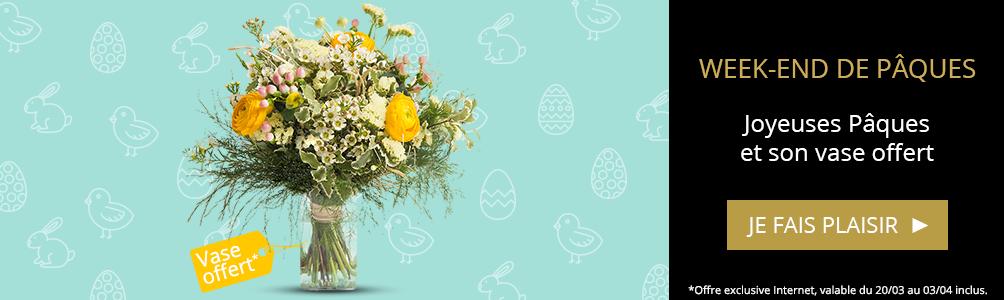 Bouquet Joyeuses Pâques et son vase offert