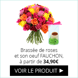 Brassée de roses et son oeuf en chocolat FAUCHON