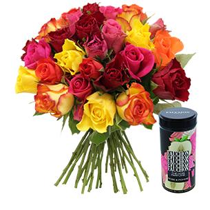 Fleurs et cadeaux Brassée de roses multicolores et son thé noir parfumé FAUCHON