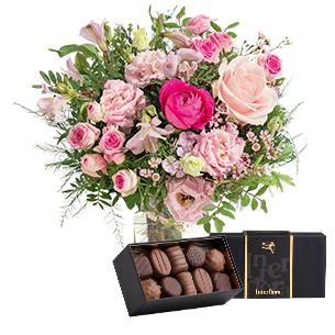 Bouquet de fleurs Tourterelle et ses chocolats