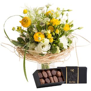 Bouquet de fleurs Nid douillet et son écrin de chocolats