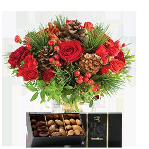 Bouquet de roses Au coin du feu et ses amandes au chocolat Noël