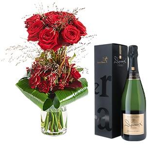 Bouquet de roses Audace et son champagne Devaux Interflora Amour