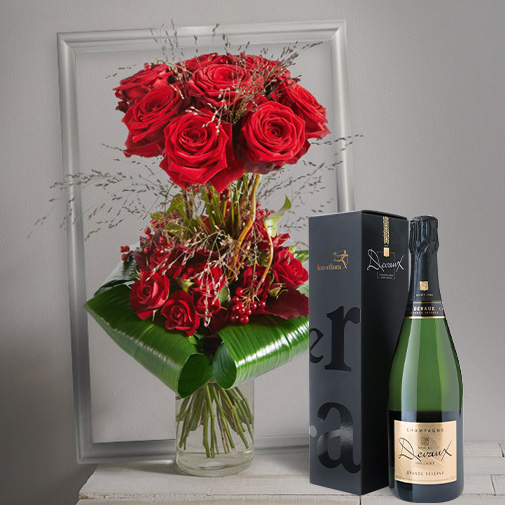 Bouquet de roses Audace et son champagne Devaux Interflora