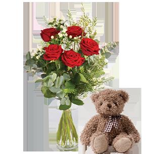 Bouquet de roses Câlin et son ourson Harry