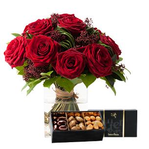 Fleurs et cadeaux Capri et son écrin d'amandes au chocolat Anniversaire