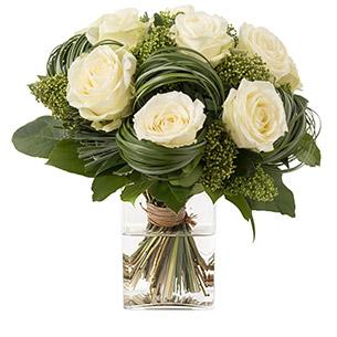 Bouquet de roses Capri blanc Naissance