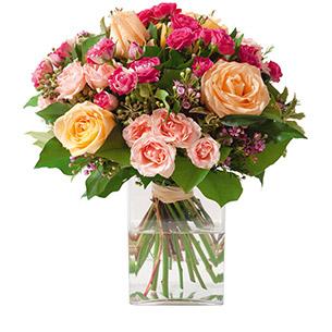Bouquet de roses Caresse Naissance