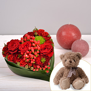 Bouquet de roses Cupidon et son ourson Harry Amour