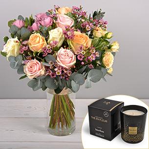 Bouquet de roses Délicatesse et sa bougie parfumée Esteban Mariage invité