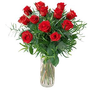 Bouquet de roses Glossy rouge Amour