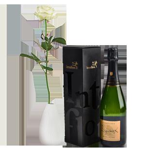 Bouquet de roses Rose blanche et son champagne Devaux Fête des Pères