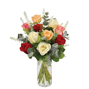 Bouquet de roses Rouge pastel Amour