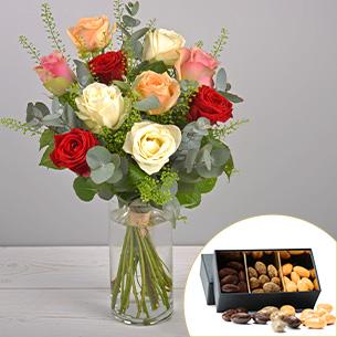 Bouquet de roses Rouge pastel et ses amandes au chocolat Collection Hommes