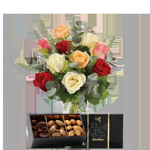 Bouquet de roses Rouge pastel et ses amandes au chocolat