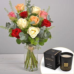 Bouquet de roses Rouge pastel et sa bougie parfumée Esteban Remerciements