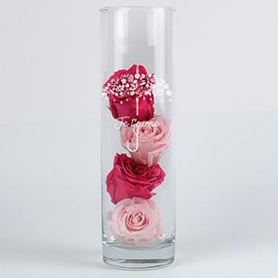 Fleurs et cadeaux Roses éternelles et leur vase gravé Je t'aime Anniversaire