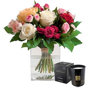 Bouquet de roses Sentiment et sa bougie parfumée Interflora par Esteban Saint-Valentin