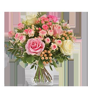 Bouquet de roses Vanille Fraise