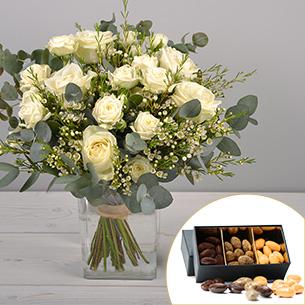 Bouquet de roses Vert coton et ses amandes au chocolat Mariage invité