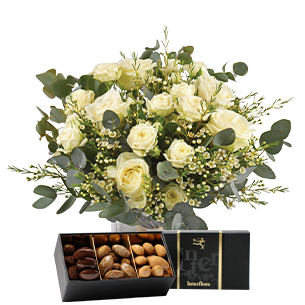 Bouquet de roses Vert coton et ses amandes au chocolat Collection Homme Gourmand