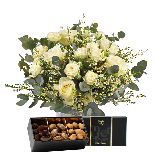 Bouquet de roses Vert coton et ses amandes au chocolat