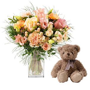 Bouquet de fleurs Boudoir et son ourson Harry Anniversaire