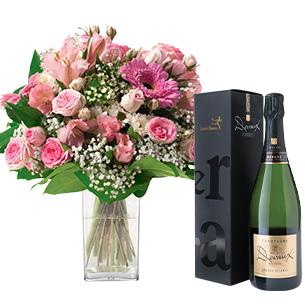 Bouquet de fleurs Bonheur et son champagne Devaux Interflora Anniversaire