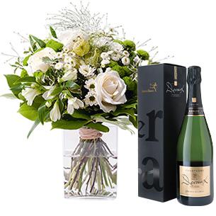 Bouquet de fleurs Confidence et son champagne Devaux Interflora Anniversaire
