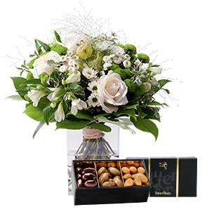 Fleurs et cadeaux Confidence et son écrin d'amandes au chocolat