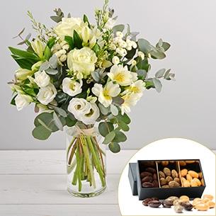 Bouquet de fleurs Paradis blanc et ses amandes au chocolat Mariage invité