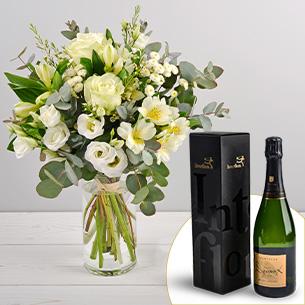 Bouquet de fleurs Paradis blanc et son champagne Devaux Mariage invité