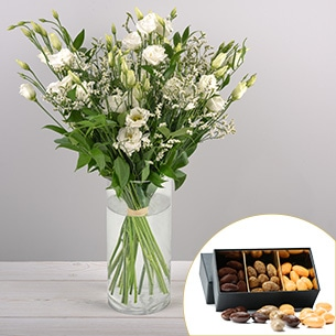Bouquet de fleurs Plumetis et ses amandes au chocolat Mariage invité