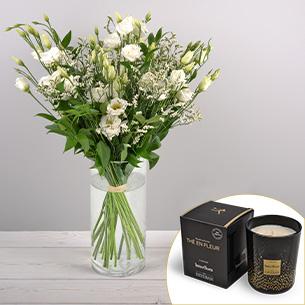 Bouquet de fleurs Plumetis et sa bougie parfumée Esteban Mariage invité