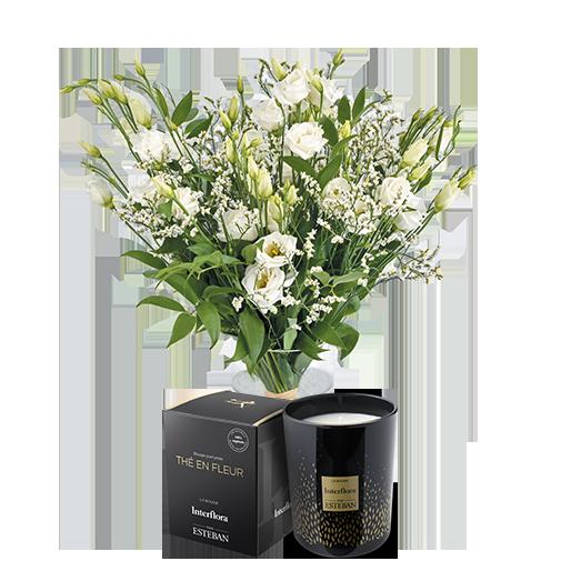 Bouquet de fleurs Plumetis et sa bougie parfumée Esteban