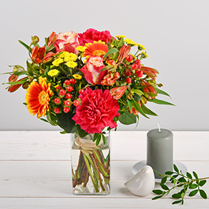 Bouquet de fleurs Tutti frutti et son vase offert Remerciements