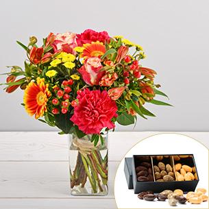 Bouquet de fleurs Tutti frutti et ses amandes au chocolat Remerciements