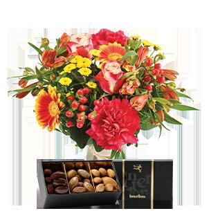 Bouquet de fleurs Tutti frutti et ses amandes au chocolat Saint-Valentin