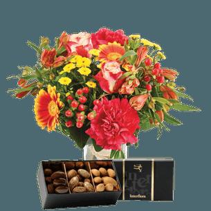 Bouquet de fleurs Tutti frutti et ses amandes au chocolat Journée internationale de l'Amitié