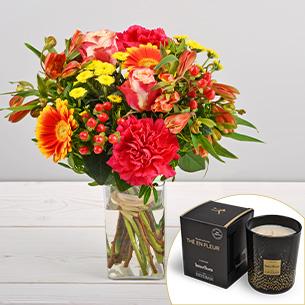 Bouquet de fleurs Tutti frutti et sa bougie parfumée Esteban Remerciements