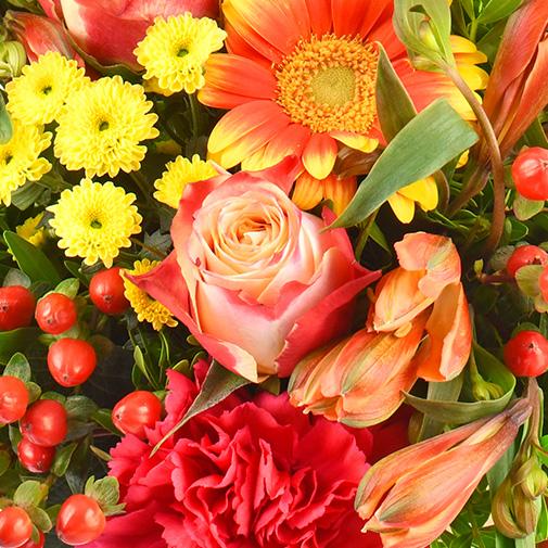 Bouquet de fleurs Tutti frutti et sa bougie parfumée Esteban
