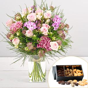 Bouquet de fleurs Velours et ses amandes au chocolat Remerciements