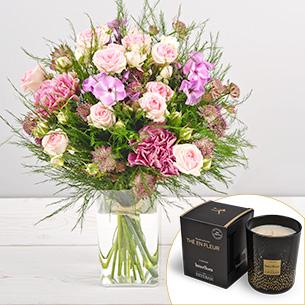 Bouquet de fleurs Velours et sa bougie parfumée Esteban Remerciements