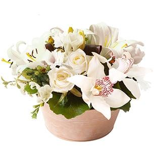 Composition florale Ambre blanc Anniversaire